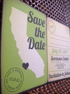 Vintage Custom Save the Date Postcard  Vertical SAMPLE by LilyGene, $3.50