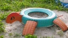 Creative DIY Ideas to Repurpose Old Tire into Animal Shaped Garden Decor Tire Playground, Outdoor Playground, Tired Animals, Tire Craft, Reuse Old Tires, Recycled Tires, Tire Garden, Garden Deco, Tire Planters