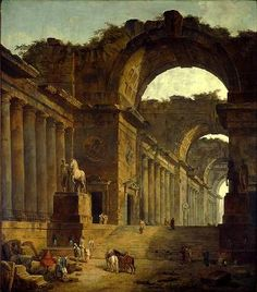 Hubert Robert (1733-1808) - One Time Curator for The Louvre. The Fountains, currently hanging in my living room.