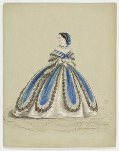 Fashion Plate, Femme en robe bleu et blanc, 1855-1865