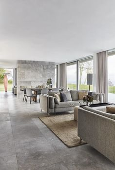 Scandinavian living room in gray shades with a beautiful view. Modern Minimalist Living Room, Minimalist Home Decor, Living Room Modern, Interior Design Living Room, Living Rooms, Scandinavian Living, Modern Bedroom Design, Living Room Inspiration, Luxury Living