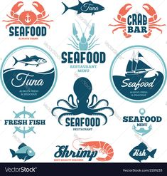 Vector set of seafood labels and signs . Download a Free Preview or High Quality Adobe Illustrator Ai, EPS, PDF and High Resolution JPEG versions.