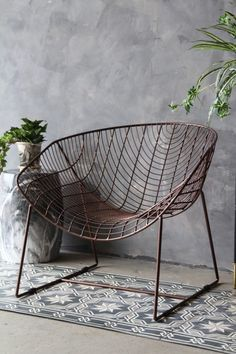 Dark Brass Wire Armchair Rockett St George