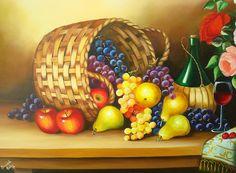Natureza Morta- Vinho, frutas e flores - Bernadeth Rocha, naife