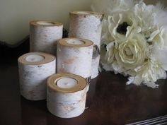 "Birch Tea Light Candle Holders Set Of 5- 6"",5"",4"",3"" And 2"" For ..."