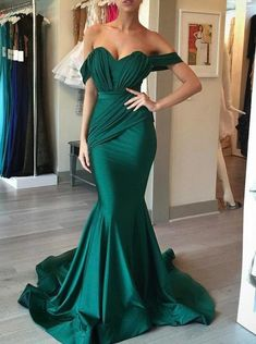 2018 prom dresses, sexy mermaid dresses, long green prom dresses, off shoulder prom dresses, evening dresses, formal dresses, party dresses#SIMIBridal #promdresses