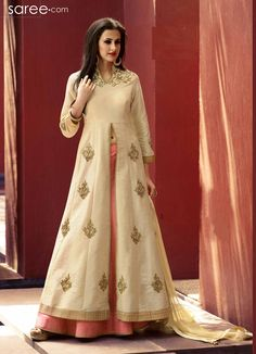 BEIGE SILK SUIT WITH ZARDOSI WORK #Salwarsuit #Anarkali #Anarkalisalwarsuit #salwarkameez #salwar #suit #Fashionindia #Indianfashion