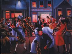 The harlem renaissance into 1936 by aaron douglas from color line archibald j motley jr s blues 1929 at the whitney museum of american art courtesy the whitney and the chicago history museum chicago illinois African American Weddings, African American Artist, African American History, American Artists, African Art, British History, American Women, Native American, Archibald Motley