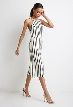 Forever 21 Strappy Back Striped Jumpsuit Cream Black