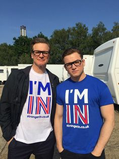 Taron Egerton with Colin Firth (in partial costume); possible return for Harry in Kingsman Taron Egerton Kingsman, Eggsy Kingsman, Colin Firth, Lois Lane, Taron Edgerton, Kingsman The Secret Service, Eggsy Unwin, Oxford Brogues, Movies