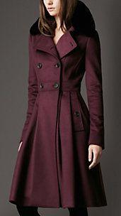 Fur Collar Full Skirt Coat