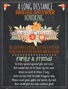 Long Distance Bridal Shower Fall Bridal by SouthernPaperDesigns
