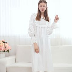6994012dbb Maternity Sleepwear Palace Princess White Lace Nightgown Long Sleeved Cotton  Large Size Pajamas Dress for Pregnant Women