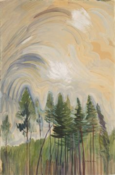 "chasingtailfeathers: "" Emily Carr Young Pines and Sky, circa 1935 oil on paper Collection of the Vancouver Art Gallery alongtimealone: Ten thousand flowers in spring, the moon in autumn, a cool breeze. Tom Thomson, Canadian Painters, Canadian Artists, Landscape Art, Landscape Paintings, Emily Carr Paintings, Group Of Seven Artists, Vancouver Art Gallery, Post Impressionism"