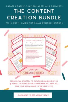 The Content Creation Bundle has dropped and if you are a small business owner struggling to churn out quality content that connects and converts, you should be EXCITED! With 10 in-depth digital resources including PDF downloads, videos, and worksheets, the Content Creation Bundle will change the way you create content for your social media marketing. Grab your download today for $99 CAD.   #socialmediamarketing #socialmediastrategy #contentcreation Social Media Analytics, Social Media Marketing, Online Marketing, Power Of Social Media, Social Media Content, Media Specialist, Instagram Marketing Tips, Worksheets, Pdf