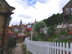 Pretty meandering paths through the old village of Runswick Bay, UK