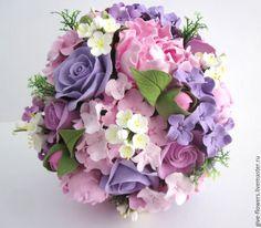 Купить Свадебный букет из полимерной глины - сиреневый, розовый, букет невесты, букет невесты из глины