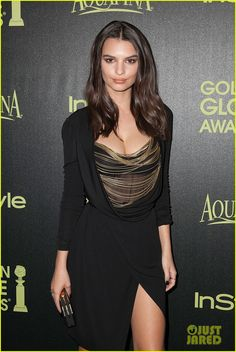 Emily Ratajkowski Shows Off Her Long Legs at Golden Globes Award Season Celebration