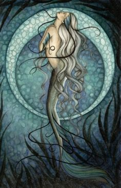 Mermaid by jessica galbreth; inspiration for my waterscapes; the colors and seaweed.