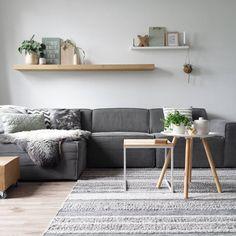 Livingroom inspo - grijze bank, gestreept vloerkleed, houten wandplank xxdorienhome