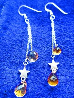 Citrine Briolets and silver stars earrings from Crimeajewel via crimeajewel. Click on the image to see more!