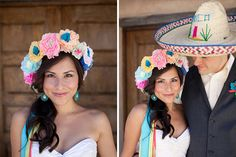 Add some color to your wedding day look with a paper flower crown.