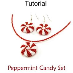 Beaded Peppermint Candy Pendant Necklace Earrings - tutorial only -  Beading Tutorial Pattern Instructions Directions