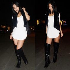 "American Filipina Ashley Vee wearing stylish black and white bar outfit with black fur vest and black boots. ""Bar hopping downtown Davis last night. Loving my black fur vest"" #Blackandwhite #Outfit #Filipina"
