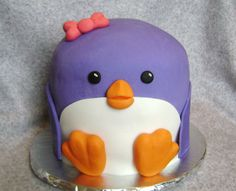 Is this the cutest purple penguin cake ever?