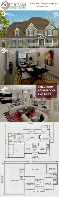 Dream House Plans: Affordable yet luxury Southern 3 Bedroom, 2671 Sq. 4 Bedroom House Plans, Basement House Plans, Dream House Plans, Dream Bedroom, Craftsman Cottage, Country House Plans, Open Floor, Second Floor, Great Rooms