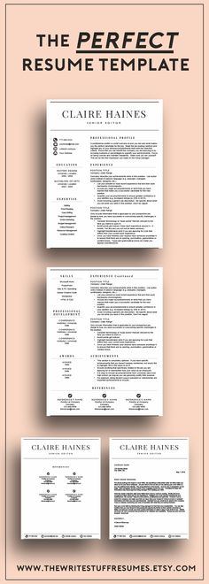 Professional Resume Template for Word CV Template Modern - classic resume design