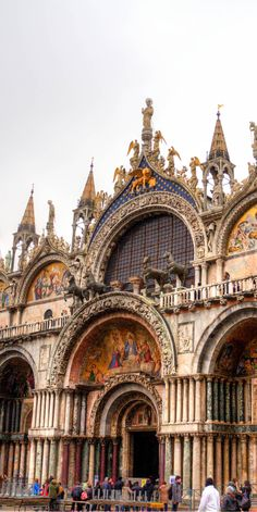 Beautiful San Marco - - - - - The Cathedral of San Marco.  Located in a huge plaza it is one of the most visited stops in Venice. #italy #venice