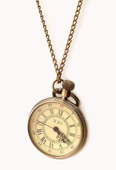 Antiqued Watch Pendant Necklace