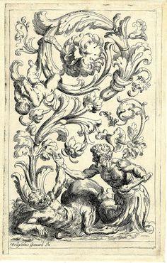 Scrolls with a satyr fighting a centaur (1600-25) (after Fialetti + Giancarli)