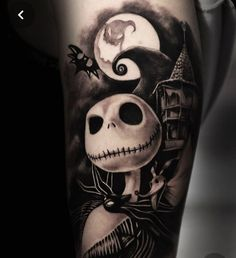 Disney Tattoos, Emo Tattoos, Skull Tattoos, Body Art Tattoos, Sleeve Tattoos, Jack Tattoo, Jack Skeleton Tattoo, Pixie Tattoo, Tim Burton