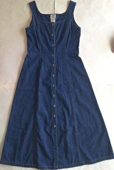 Vintage 1992 LAURA ASHLEY Denim Maxi Dress Jumper Pinafore 100% Cotton Size 8  #LauraAshley #MaxiDressJumper