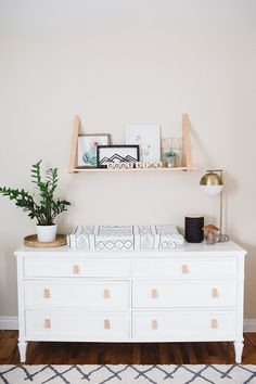 Emerson Grey Designs : Nursery Interior Designer, changing table inspo, black, white and wood,