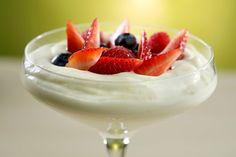 Lemon mousse with lots of citrus flavor.