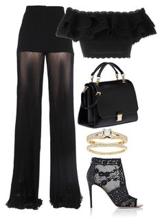 Black & Gold by carolineas on Polyvore featuring polyvore, fashion, style, Alexander McQueen, Versace, Valentino, Miu Miu and clothing