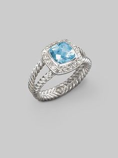 David Yurman ring. Beautiful, blue topaz with diamonds.