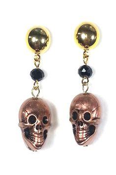 Calaverita metal casting earrings with skulls. Great statement earrings!   Calaverita Earrings. by Angela Diaz. Accessories Queens, New York City