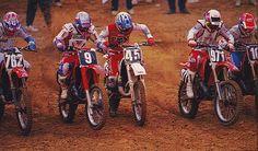 Mike Kiedrowski (762), Donny Schmit (9), Damon Bradshaw (45), Larry Ward (971) and Guy Cooper (10) rocket off the line in 1989 - Karl Ockert Photo #DeepField #125sRule #Badshaw #MXKied #RIPDonny #80sMotoRuled