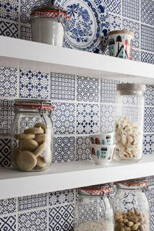 Kitchen backsplash Batik Blue toppstiles.couk