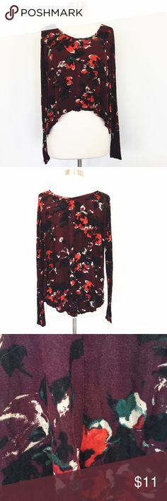 Abercrombie & Fitch: Swingy Floral Oxblood Top Beautiful, soft swing top with long sleeves and beautiful all over floral pattern. So comfy! Small hole near the tag at the top. Abercrombie & Fitch Tops Tees - Long Sleeve