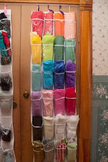 Tissue paper organizing idea *Update* Did this in my craft room, and it works WONDERFULLY! I used command hooks to hang mine on my wall, since I don't have a free door.