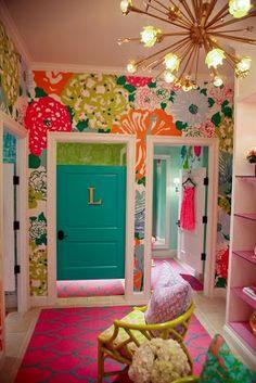 cute floral wall paper and unique closet door