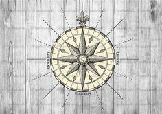 Antique Nautical Wind Rose Illustration Clipart - Vintage Compass Rose Digital Transfer Graphics Printable Image - Instant Digital Download