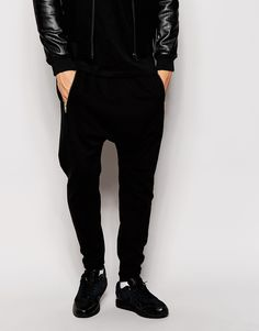 Image 1 of ASOS Drop Crotch Joggers With Zip Detail