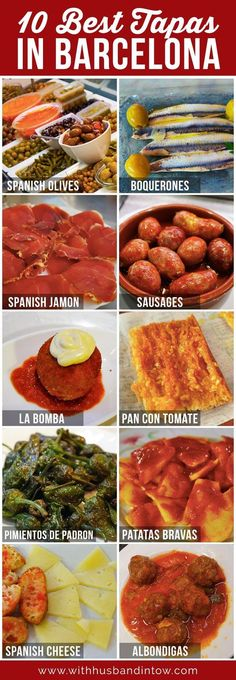 Spain, and in particular Barcelona, is one of my favorite places to eat. Check out the 10 best tapas in Barcelona! www.withhusbandintow.com/10-best-tapas-in-barcelona/ #Food #Travel #Spain