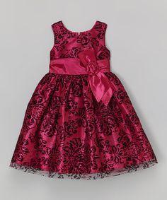 Wine & Black Lace A-Line Dress - Toddler & Girls